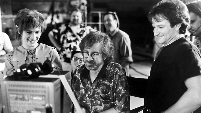 Roberts, Spielberg, Williams Watch Dailies on 'Hook' Set, 1991.